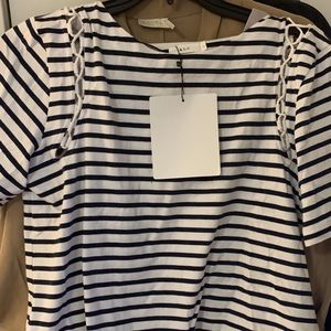 New A.L.C. Striped Embellished Tee Shirt Top Large